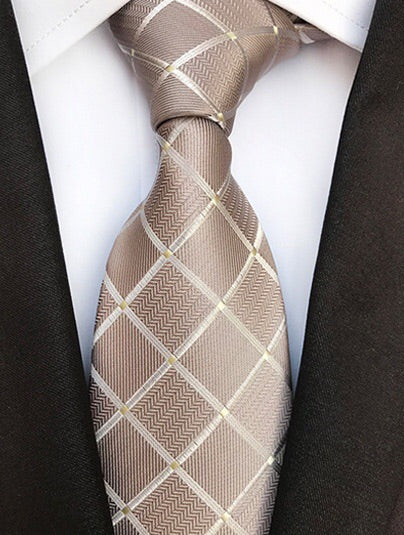 Metallic Brown Check Tie