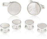 Mother of Pearl Sterling Silver Cufflink and Stud Set