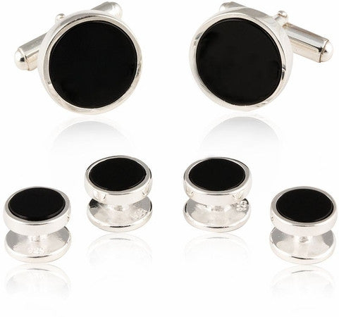 Onyx Sterling Silver Cufflink and Stud Set