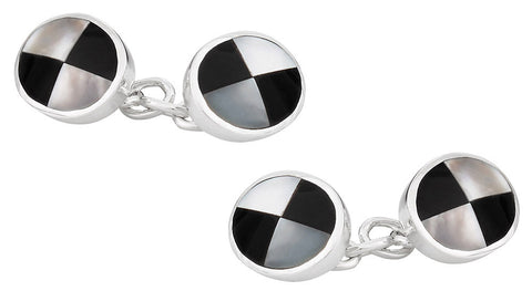Mother of Pearl and Onyx Sterling Silver Cufflinks