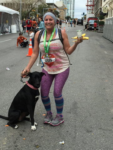Daughter Hannah, age 28, and grand-dog Marley after Hannah completed her FIRST half marathon in Austin, Texas.  Lily takes care of us at ALL ages!