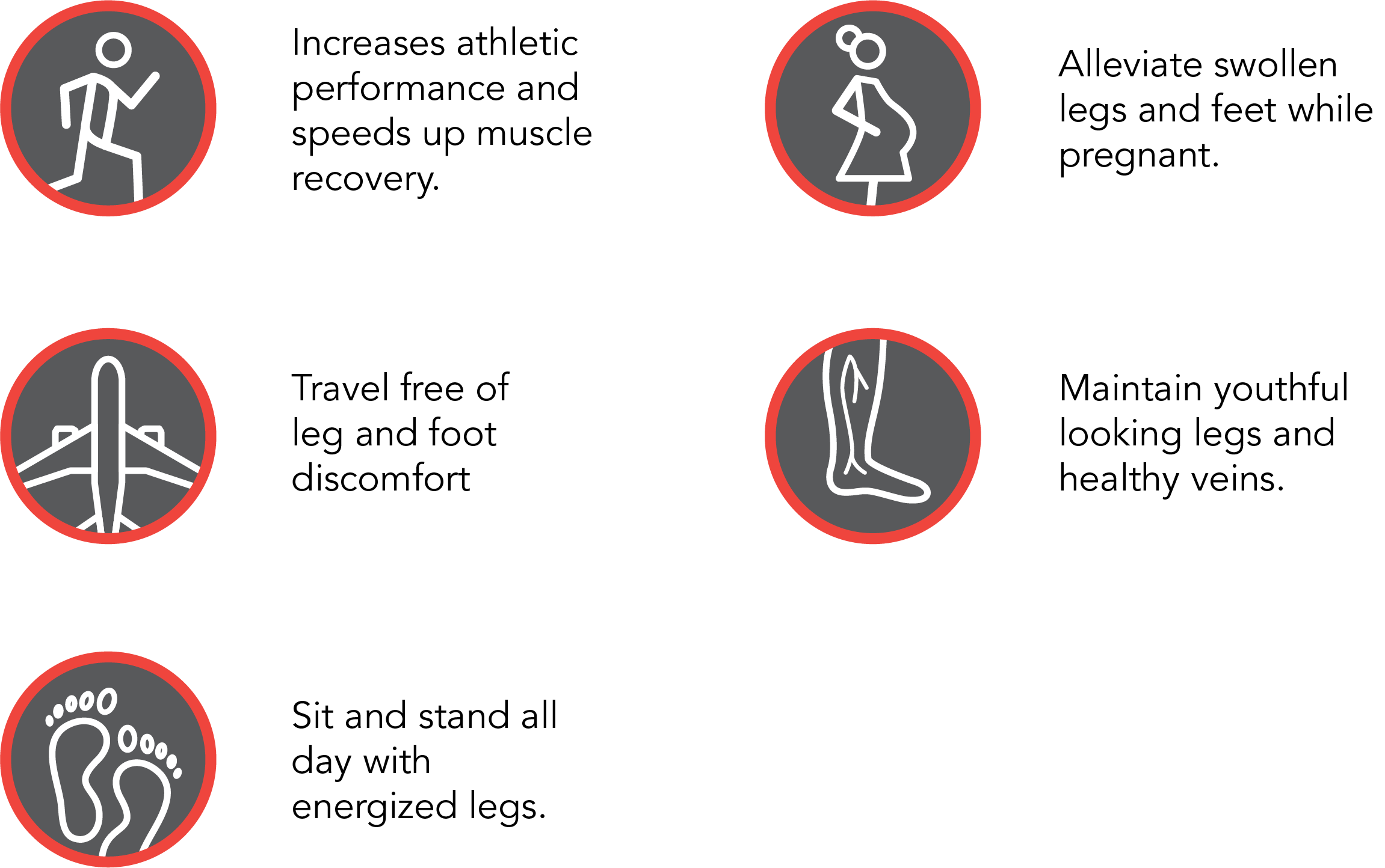 Our socks increase athletic performance and speed up muscle recovery; allow travel free of leg and foot discomfort; allow Sit and stand all day with energized legs; alleviate swollen legs and feet while pregnant; and maintain youthful looking legs and healthy veins.