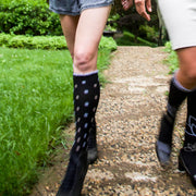 Compression socks in elegant polka dots black with periwinkle and cafe' for the fashionista