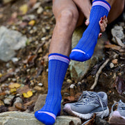 Compression crew socks super comfortable in blue herringbone