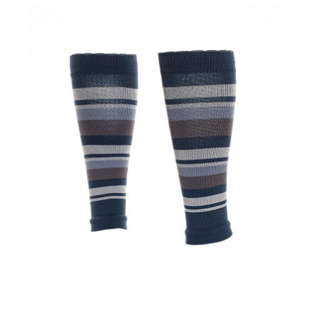 Compression calf sleeves in elegant shades of striped grey