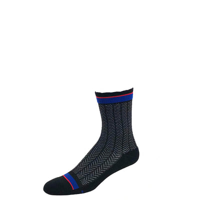 Performance compression crew socks in black herringbone