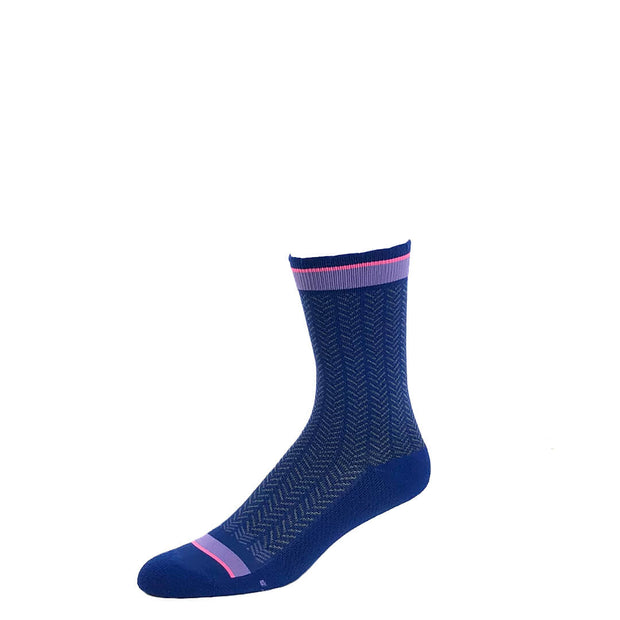 Performance compression crew socks in blue herringbone