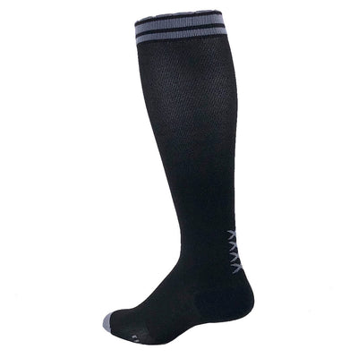 Black designer performance compression sock with vertical grey XXXX at the ankle and grey striping at top