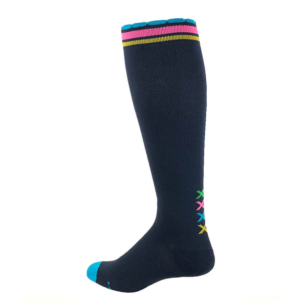 Designer performance compression socks in slate with vertical multicolored XXXX on ankle and multicolored striping at top