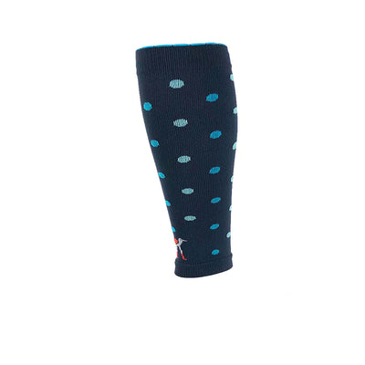 Polka dotted performance compression calf sleeves in slate