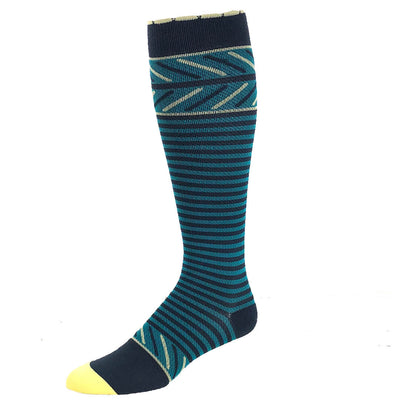 Slate designer compression sock featuring thin stripes and yellow accents