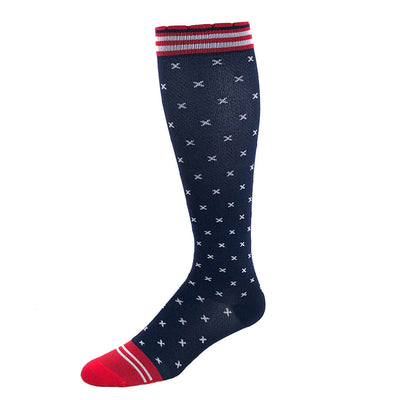 Navy blue performance compression sock with white cross stitch pattern & red and white accents