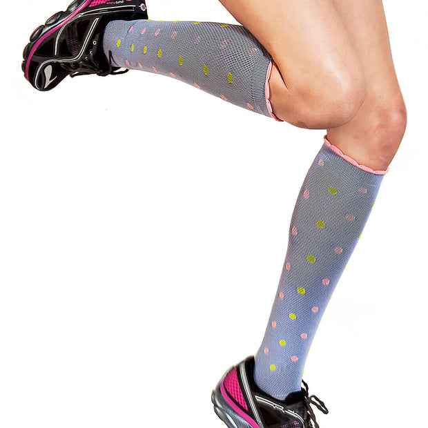 Polka dots in periwinkle for running and sports