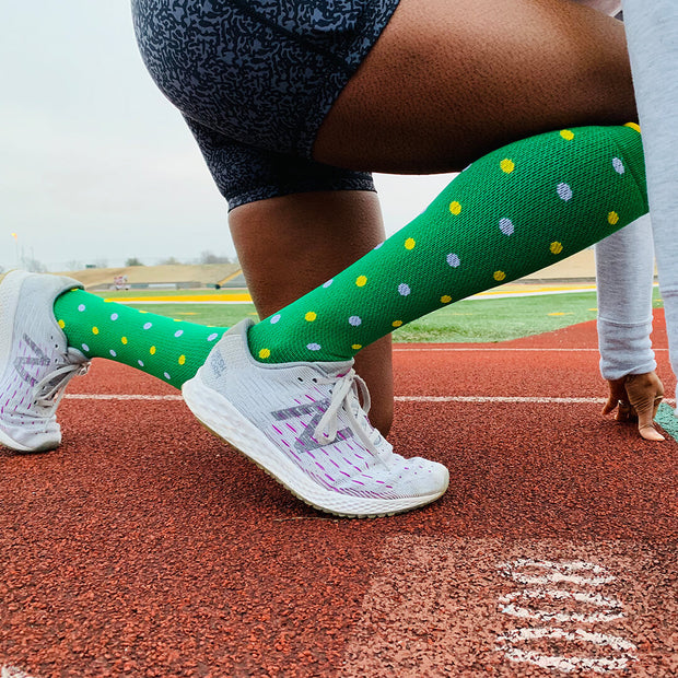 St Patrick's Day Lucky Green polka dots socks for races