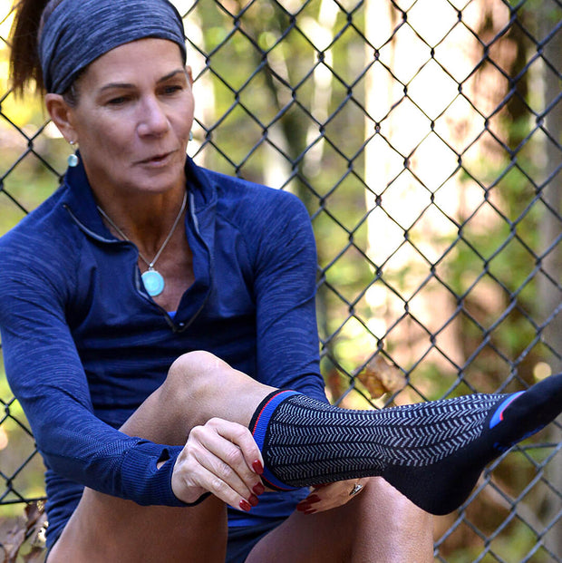 Designer Performance compression crew socks for hiking, running and cycling.