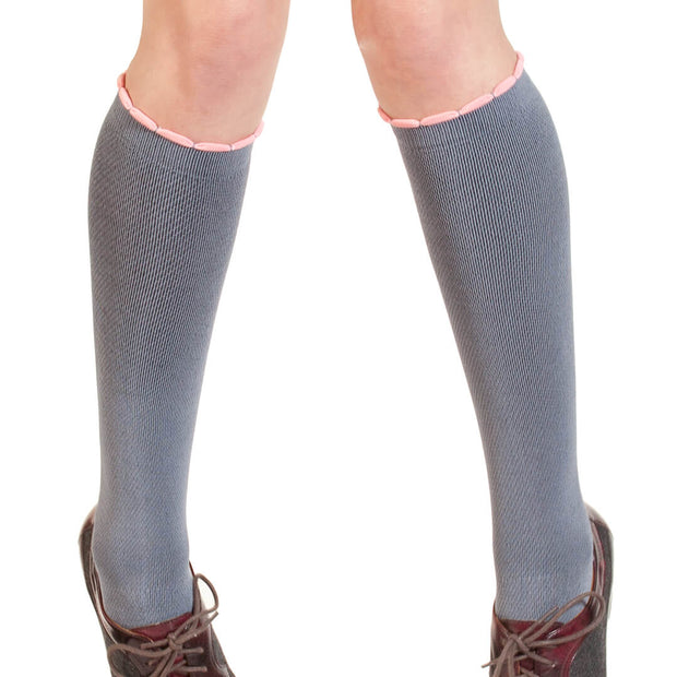 Sexy Grey Compression sock with ribbon and bow down back