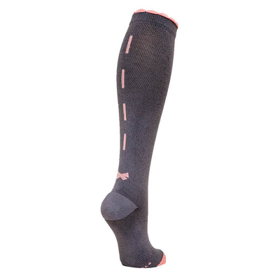 Grey designer performance compression sock with pink ribbon and bow down back