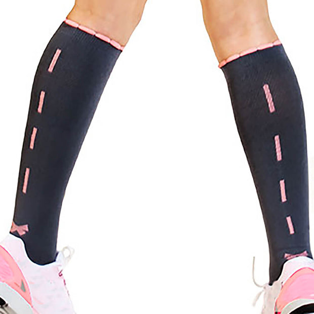 Sexy Grey compression sock with pink ribbon down back  for runners