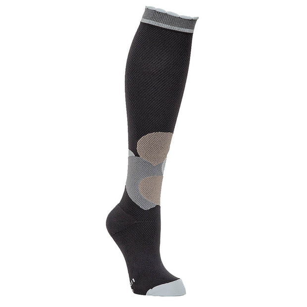 Grey designer performance compression sock with overlapping hearts in neutral shades on front