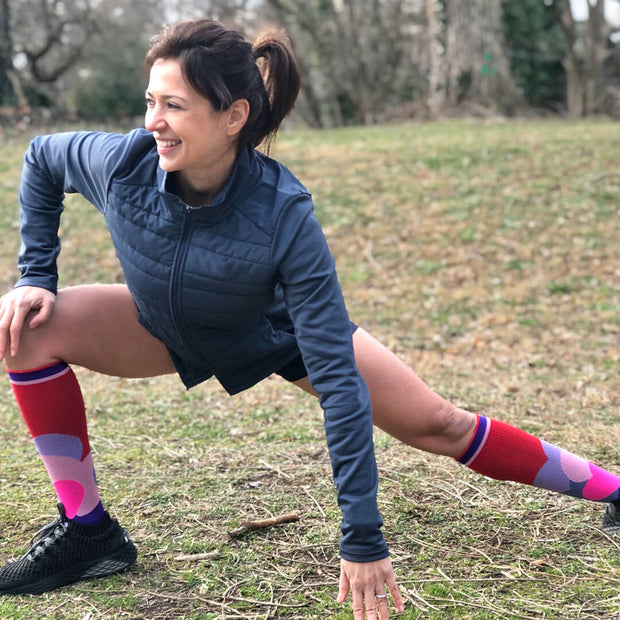 Red, purple and pink hearts Valentine's Compression Socks for runners