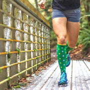 St Patrick's Day Lucky Green polka dots socks for trail runners