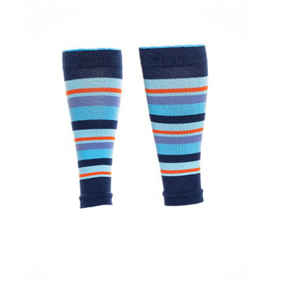 Blue-striped designer athletic compression calf sleeves
