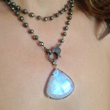 Rainbow Moonstone Pendant, Necklaces - Luna Lili Jewelry
