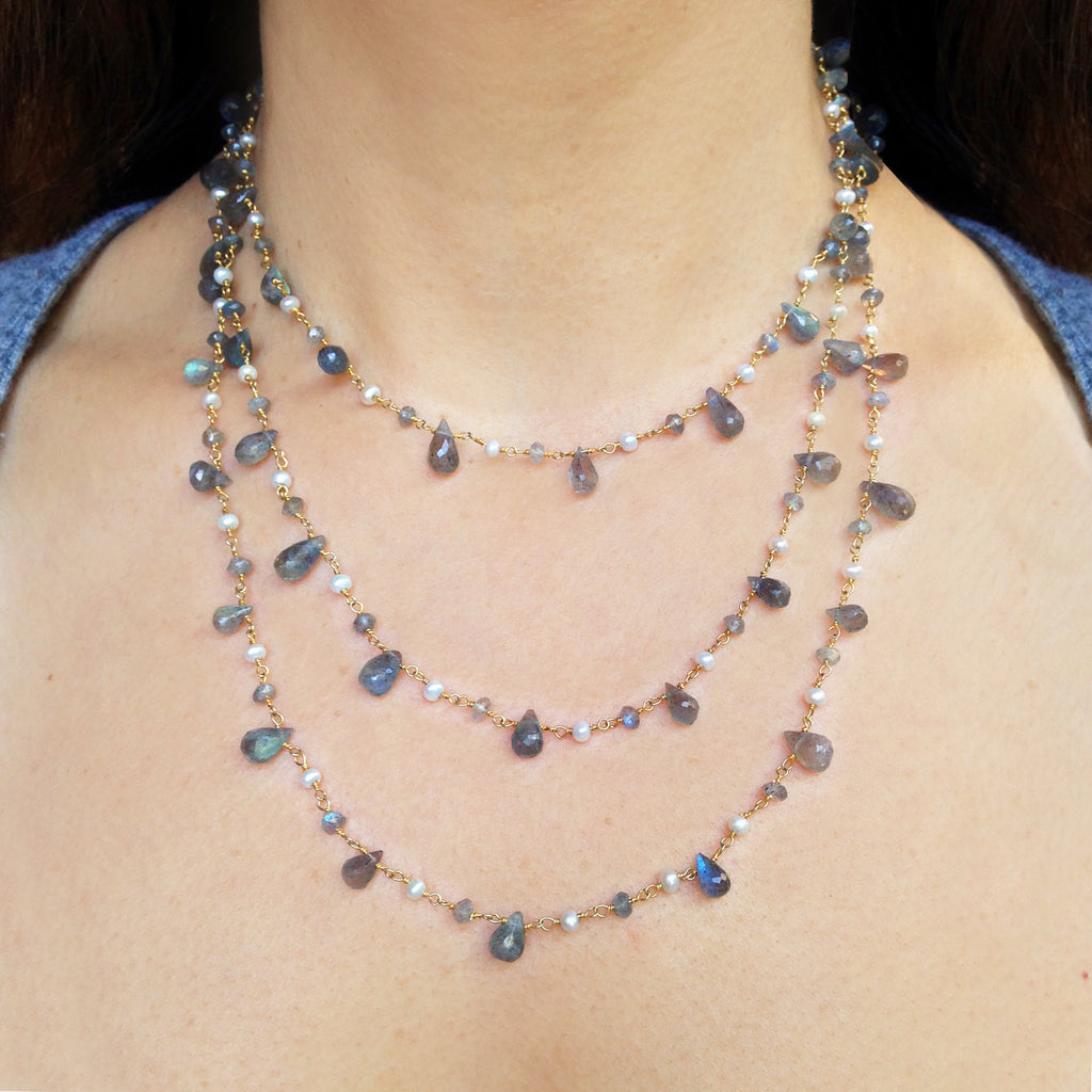 Labradorite Teardrop and Natural Pearls Necklace, Necklaces - Luna Lili Jewelry