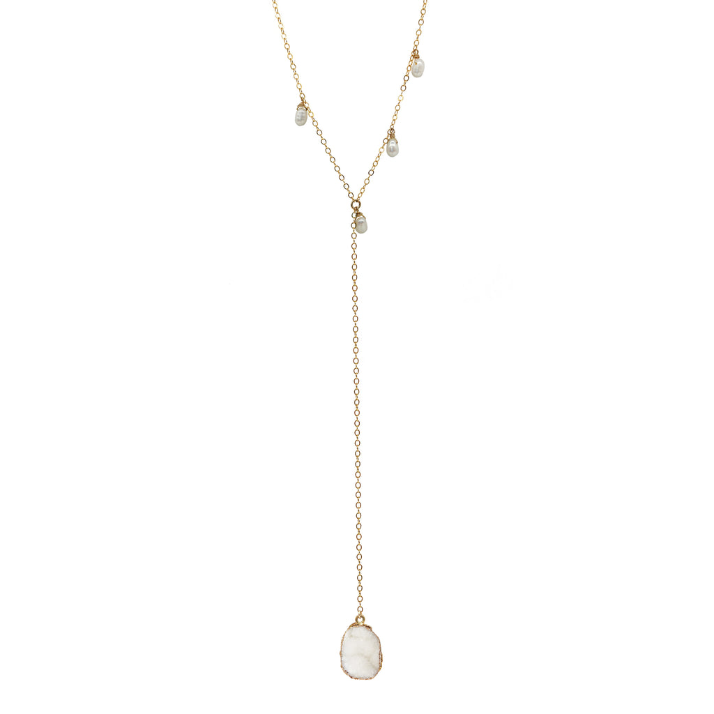 Druzy Y Necklace with Natural Pearl Drops on Gold Chain, Necklaces - Luna Lili Jewelry