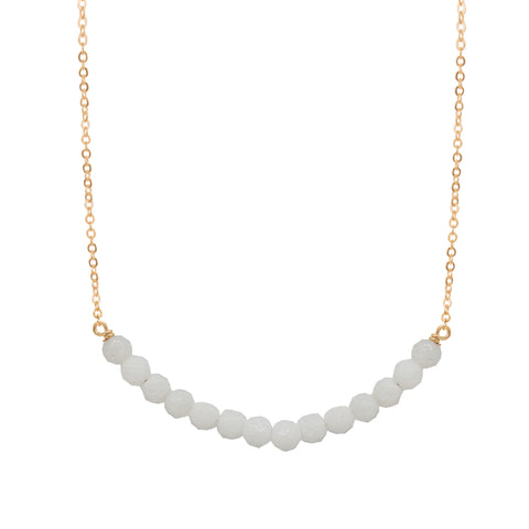 White Chalcedony Circle Necklace