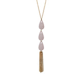 Rose Quartz Briolette Tassel Necklace, Necklaces - Luna Lili Jewelry