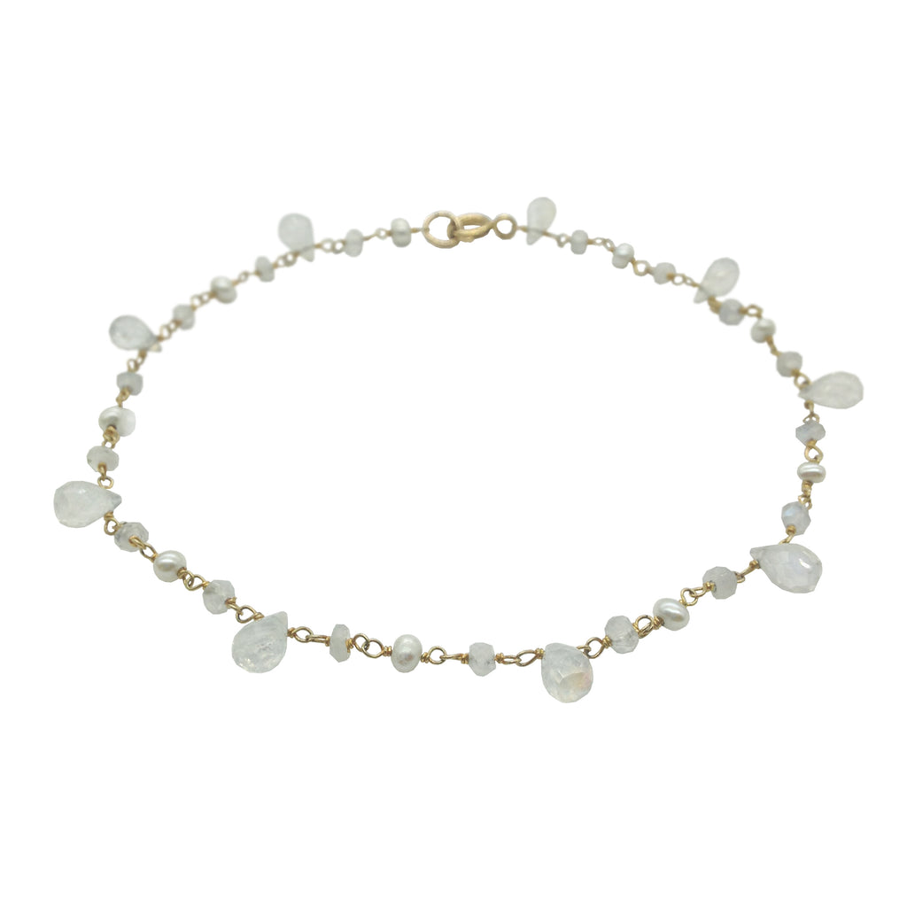 Moonstone and Pearl Anklet, Anklets - Luna Lili Jewelry