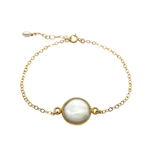 Natural Pearl in Oxidized Bezel Setting