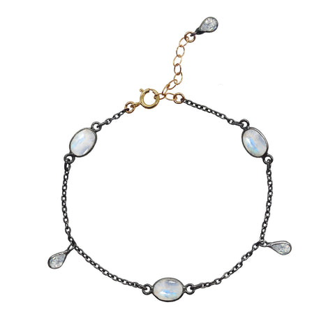 Doublestrand Moonstone and Pearl Bracelet