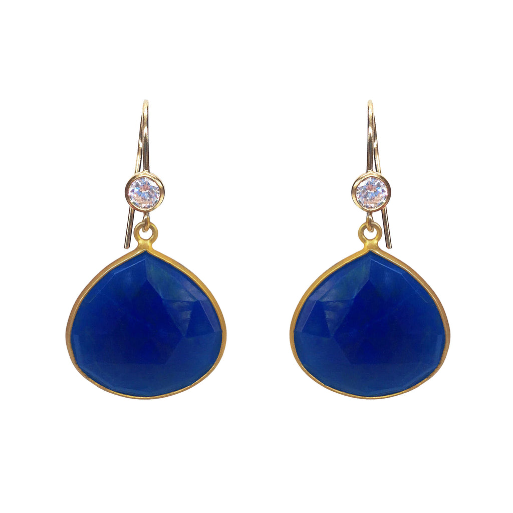 Blue Lapis Earrings with CZ Charms, Earrings - Luna Lili Jewelry