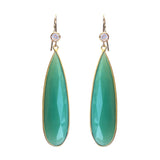 Chrysoprase Long Tear Drops Earrings, Earrings - Luna Lili Jewelry