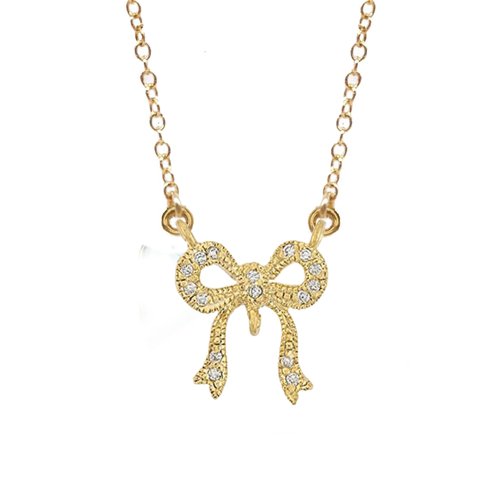 Cubic Zirconia Bow Connector, Necklace - Luna Lili Jewelry