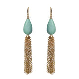 Amazonite Briolette Tassel Earrings, Earrings - Luna Lili Jewelry