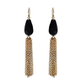 Black Onyx Briolette Tassel Earrings, Earrings - Luna Lili Jewelry