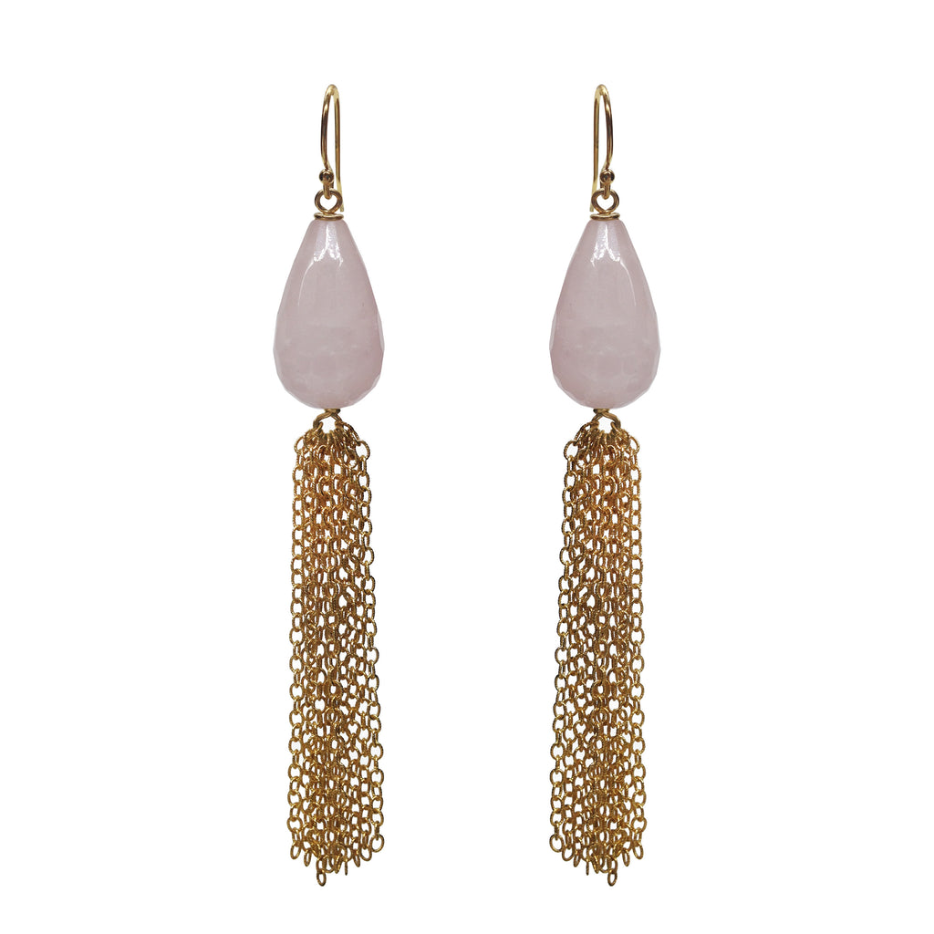 Rose Quartz Briolette Tassel Earrings, Earrings - Luna Lili Jewelry