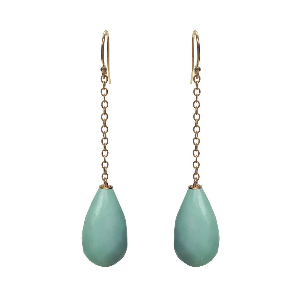 Amazonite Briolette Drop Earrings, Earrings - Luna Lili Jewelry