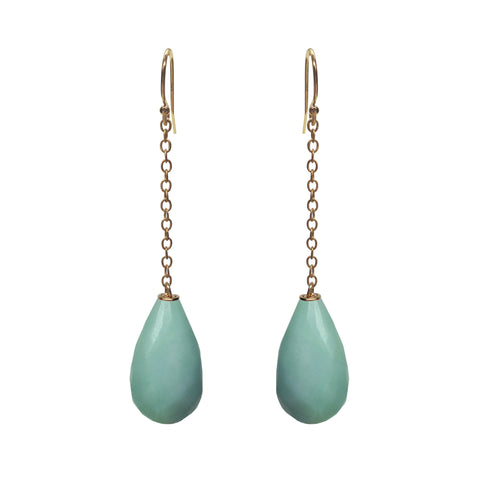 Amazonite Briolette CZ Earrings