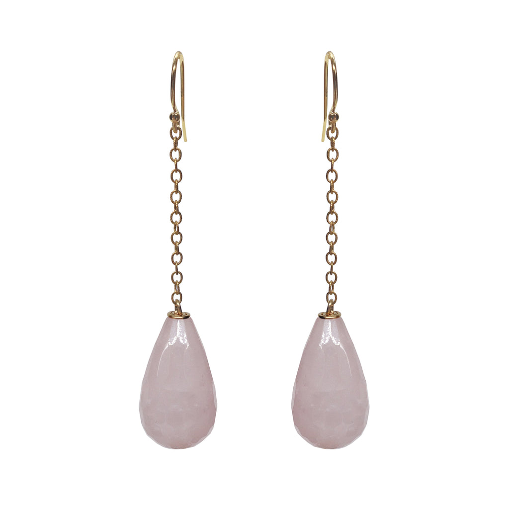 Rose Quartz Briolette Drop Earrings, Earrings - Luna Lili Jewelry