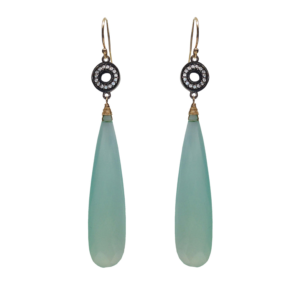 Aqua Chalcedony Long Teardrop Earrings, Earrings - Luna Lili Jewelry