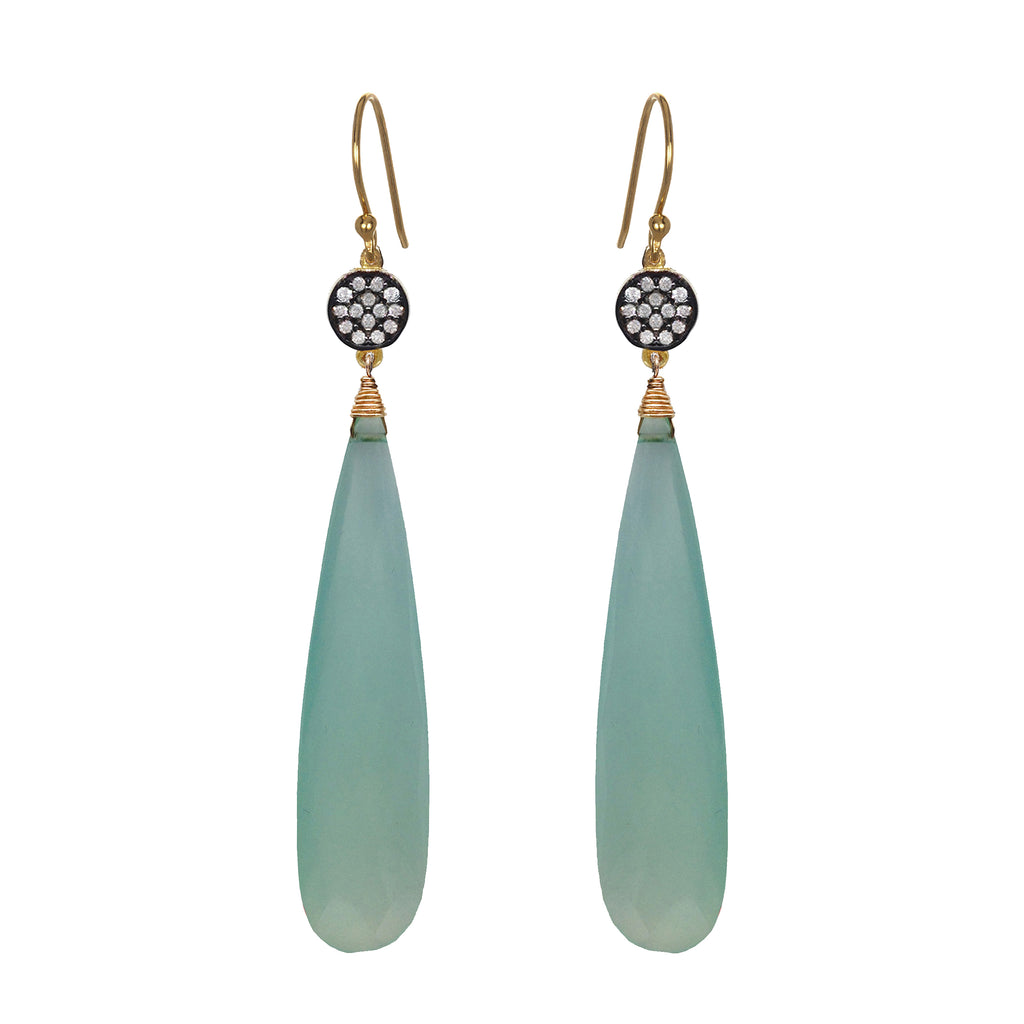Seafoam Chalcedony Circle Earrings, Earrings - Luna Lili Jewelry