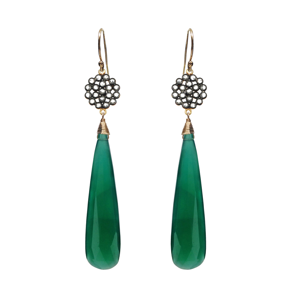 Green Onyx Chalcedony Floral Earrings, Earrings - Luna Lili Jewelry