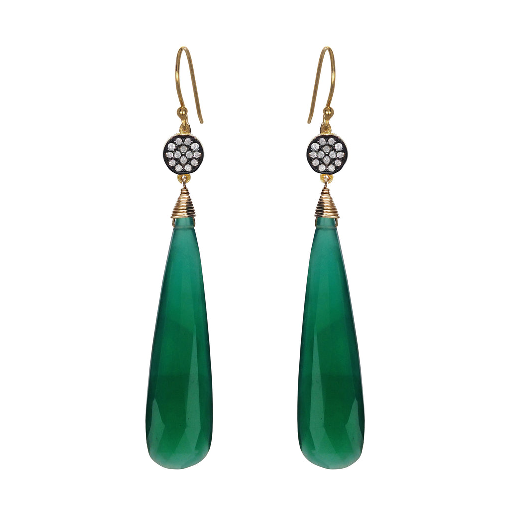 Green Onyx Circle Earrings, Earrings - Luna Lili Jewelry