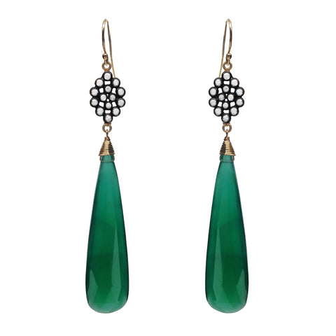 Green Onyx Chalcedony Floral Earrings