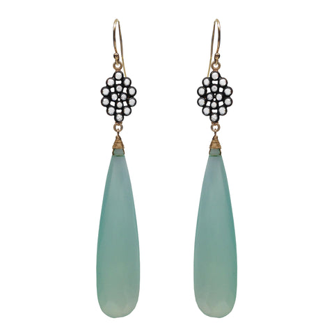 Seafoam Chalcedony Floral Earrings