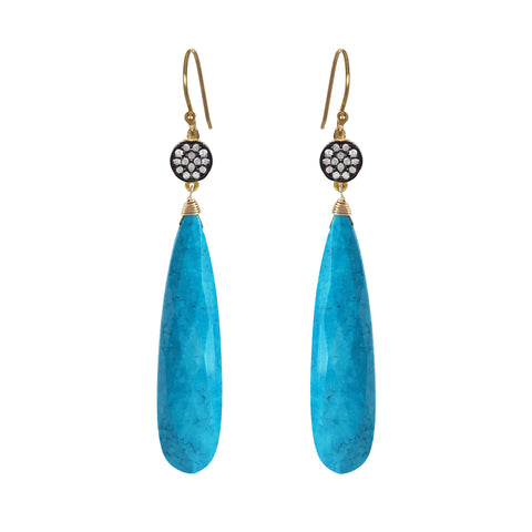 Petite Turquoise White Topaz Accent Earrings